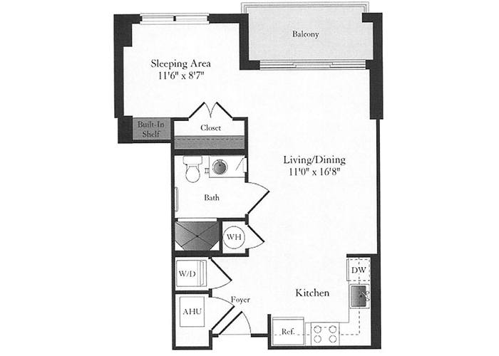 Phoenix - A2 Floorplan - 1 Bed, 1 Bath