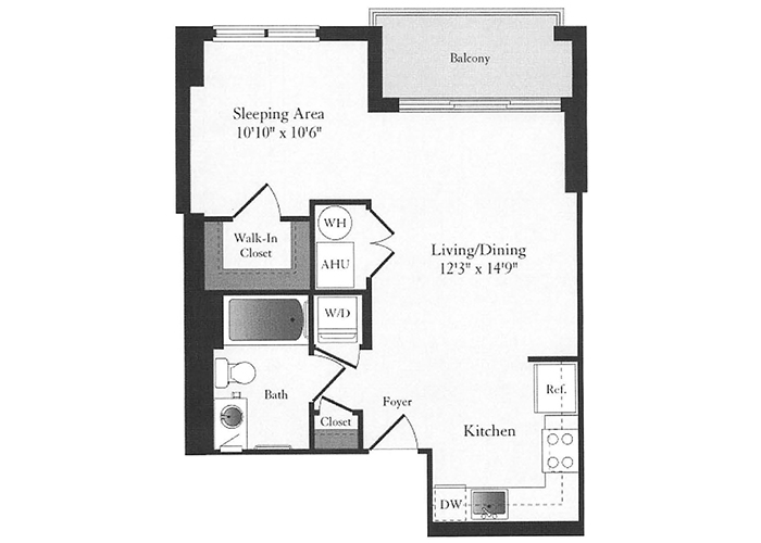 Phoenix - A3 Floorplan - 1 Bed, 1 Bath