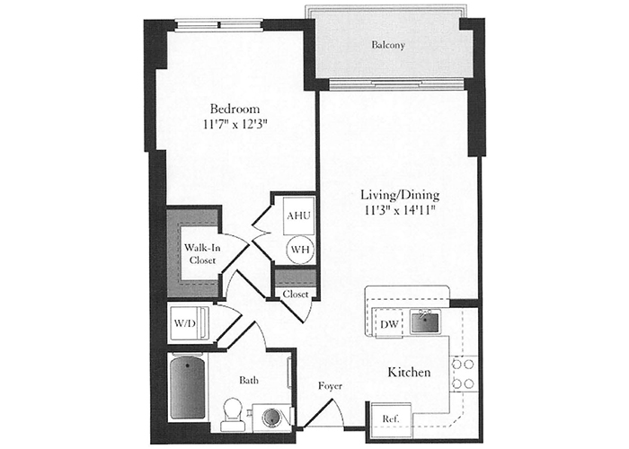 Phoenix - B1 Floorplan - 1 Bed, 1 Bath