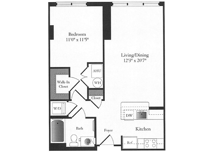 Phoenix - B2.1 Floorplan - 1 Bed, 1 Bath