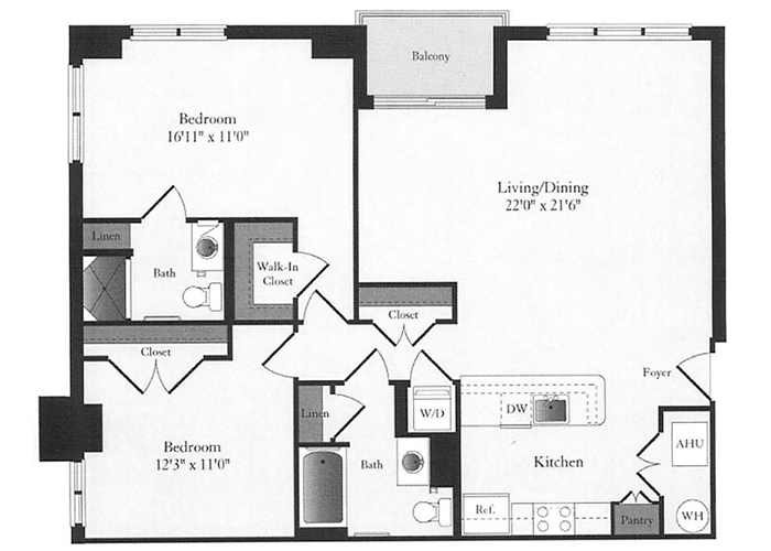 Phoenix - D6 Floorplan - 2 Bed, 2 Bath