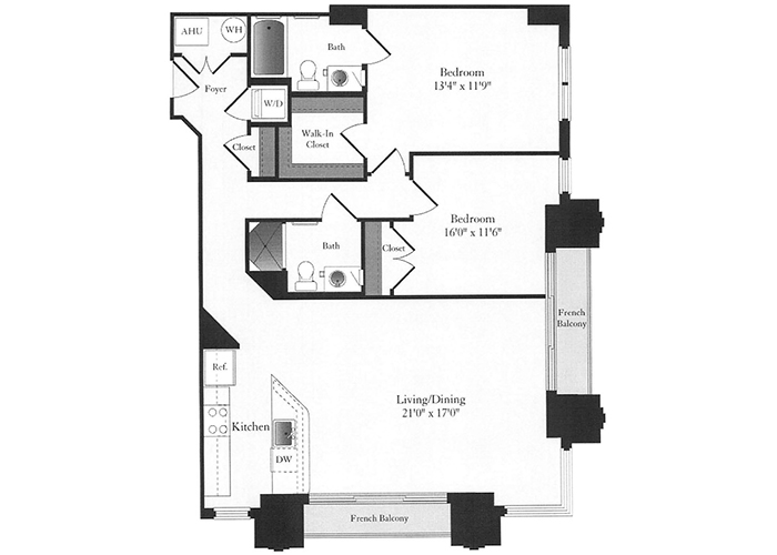 Phoenix - D8 Floorplan - 2 Bed, 2 Bath