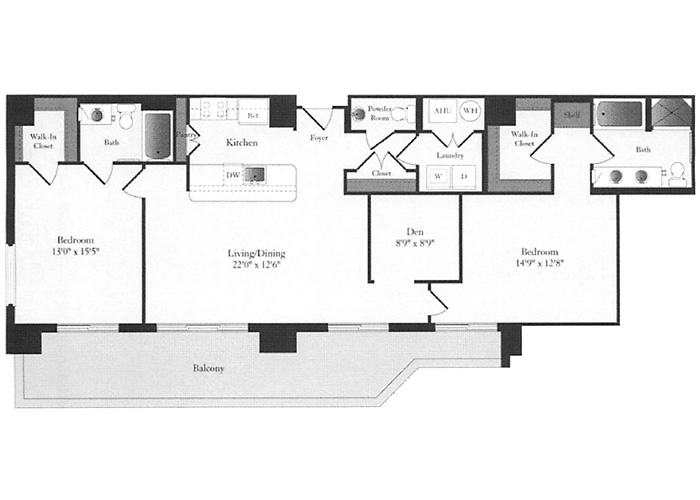 Phoenix - E1 Floorplan - 2 Bed, 2 Bath