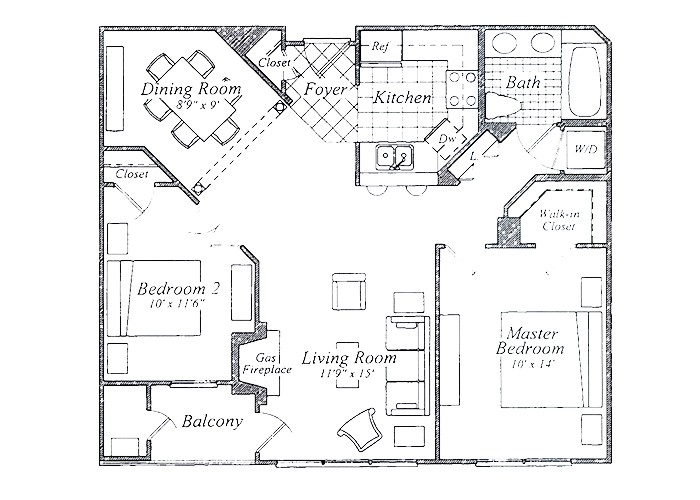 The Hughes Two Bedroom One Bath