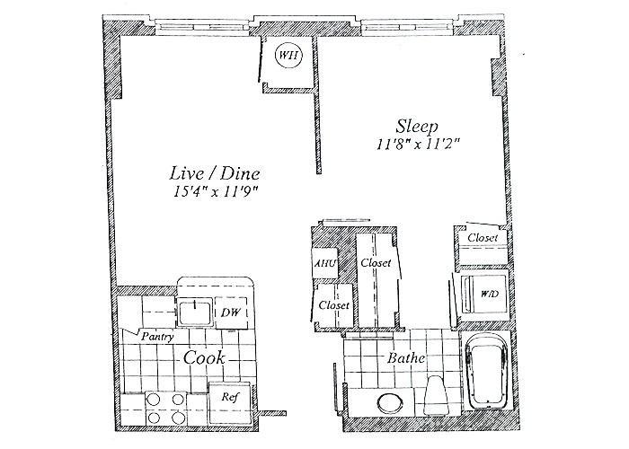 Unit A07  Floor 1-6 One Bedroom