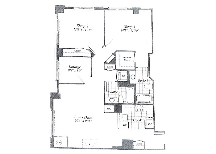 Unit C014 9th Floor Two Bedroom With Lounge