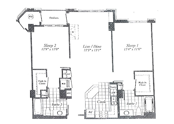 Unit C01(rear) Floor 3-9 Two Bedroom