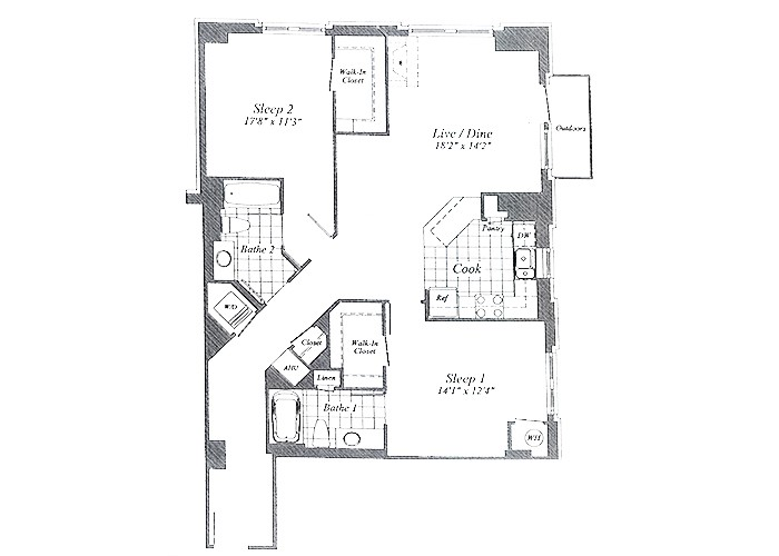 Unit C02 Floors 1-6 Two Bedroom