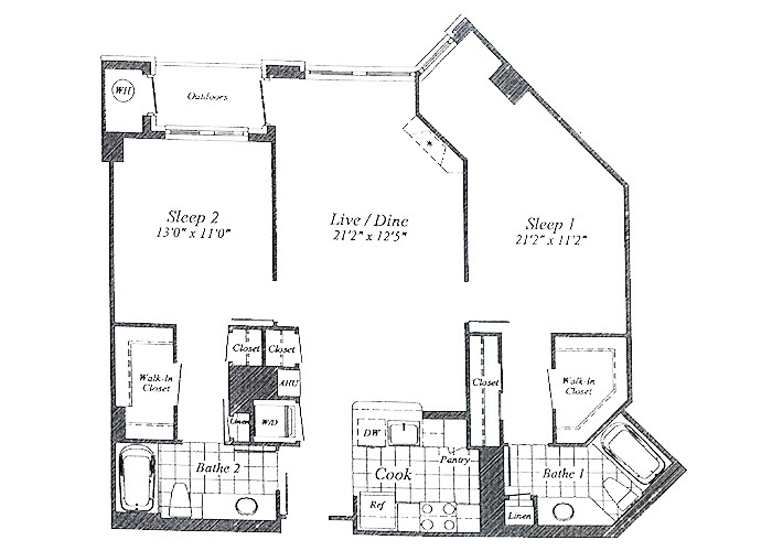 Unit C04 B1 Level Floor 1-9 Two Bedroom